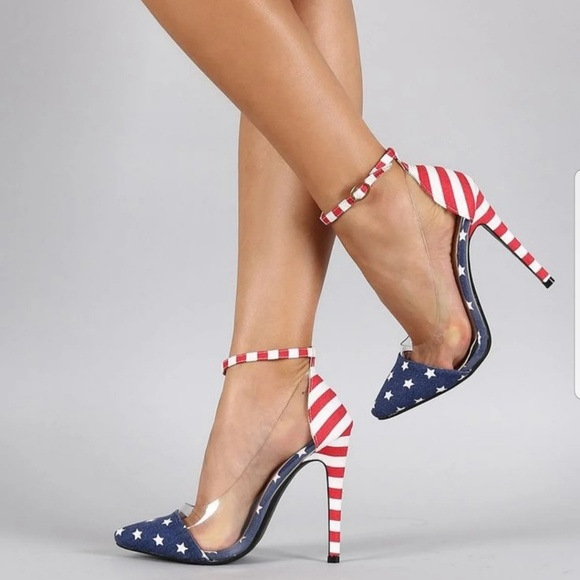 Lilliana Shoes | Red White Blue Heels